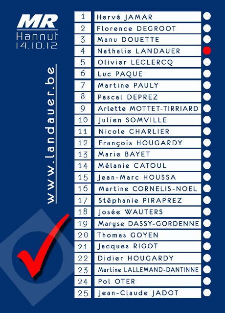 Liste MR Hannut Elections Communales 2012